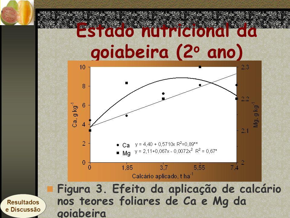Estado nutricional da goiabeira (2 o ano) Figura 3. Efeito da aplicação de calcário nos teores foliares de Ca e Mg da goiabeira Resultados e Discussão