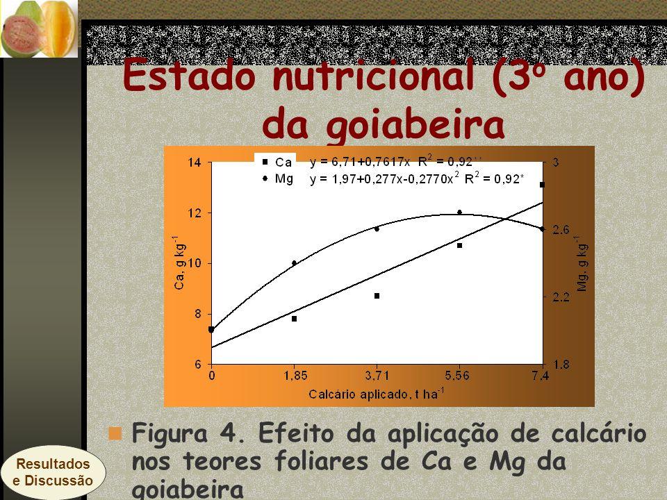 Estado nutricional (3 o ano) da goiabeira Figura 4. Efeito da aplicação de calcário nos teores foliares de Ca e Mg da goiabeira Resultados e Discussão