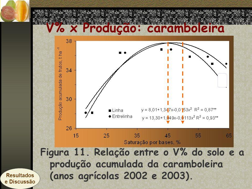 Figura 11. Relação entre o V% do solo e a produção acumulada da caramboleira (anos agrícolas 2002 e 2003). V% x Produção: caramboleira Resultados e Di