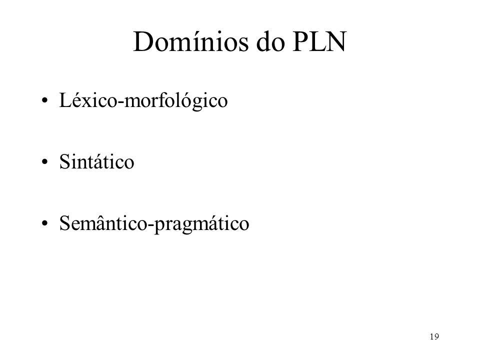 19 Domínios do PLN Léxico-morfológico Sintático Semântico-pragmático