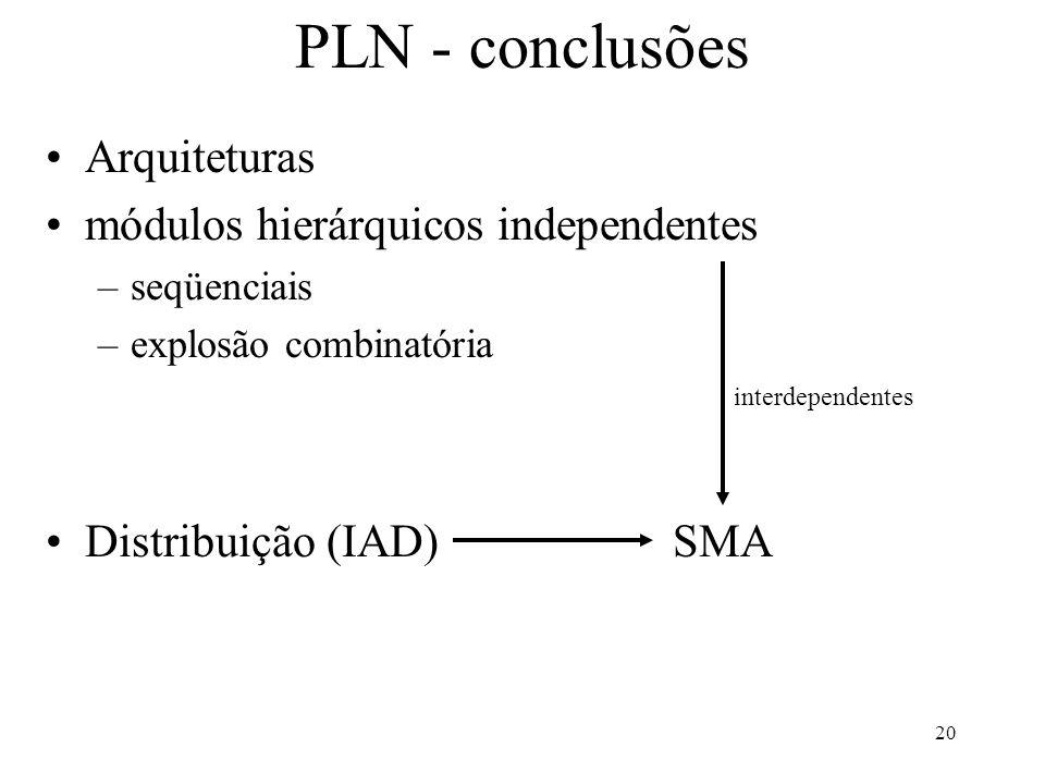 20 PLN - conclusões Arquiteturas módulos hierárquicos independentes –seqüenciais –explosão combinatória Distribuição (IAD)SMA interdependentes