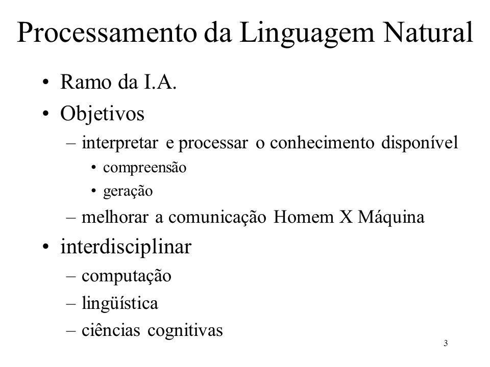 3 Processamento da Linguagem Natural Ramo da I.A. Objetivos –interpretar e processar o conhecimento disponível compreensão geração –melhorar a comunic