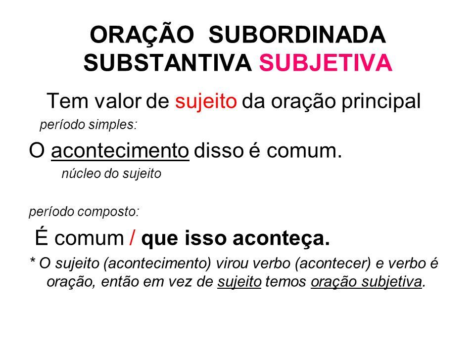 ORAÇÃO SUBORDINADA SUBSTANTIVA SUBJETIVA Tem valor de sujeito da oração principal período simples: O acontecimento disso é comum. núcleo do sujeito pe