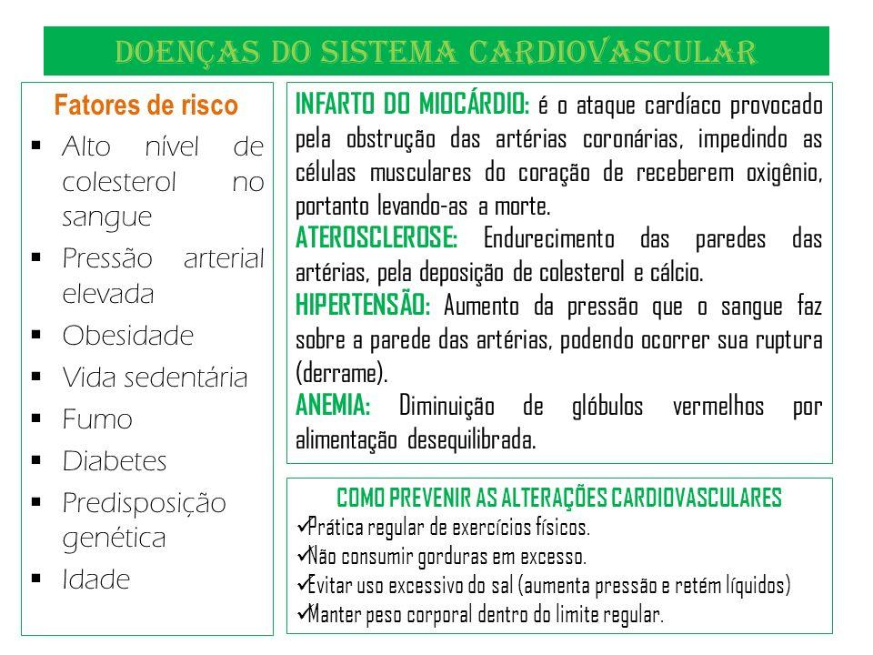 DOENÇAS DO SISTEMA CARDIOVASCULAR Fatores de risco Alto nível de colesterol no sangue Pressão arterial elevada Obesidade Vida sedentária Fumo Diabetes