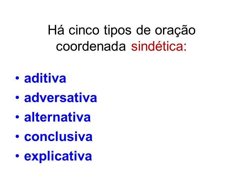 Há cinco tipos de oração coordenada sindética: aditiva adversativa alternativa conclusiva explicativa