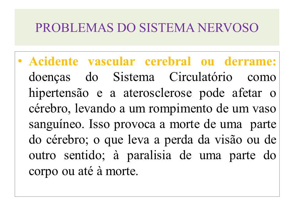 PROBLEMAS DO SISTEMA NERVOSO Acidente vascular cerebral ou derrame: doenças do Sistema Circulatório como hipertensão e a aterosclerose pode afetar o c