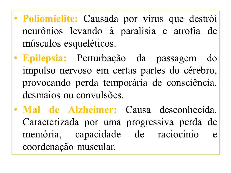 Poliomielite: Causada por vírus que destrói neurônios levando à paralisia e atrofia de músculos esqueléticos. Epilepsia: Perturbação da passagem do im