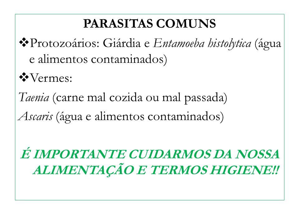 PARASITAS COMUNS Protozoários: Giárdia e Entamoeba histolytica (água e alimentos contaminados) Vermes: Taenia (carne mal cozida ou mal passada) Ascari