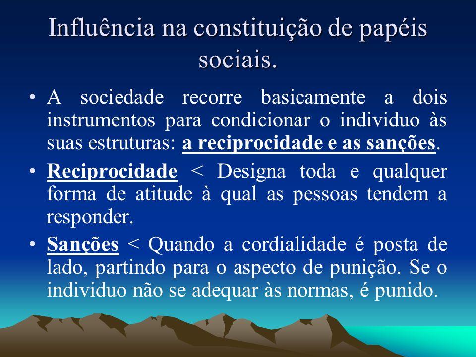 Influência na constituição de papéis sociais. A sociedade recorre basicamente a dois instrumentos para condicionar o individuo às suas estruturas: a r