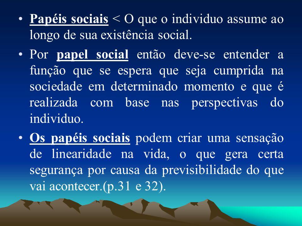 Papéis sociais < O que o individuo assume ao longo de sua existência social. Por papel social então deve-se entender a função que se espera que seja c