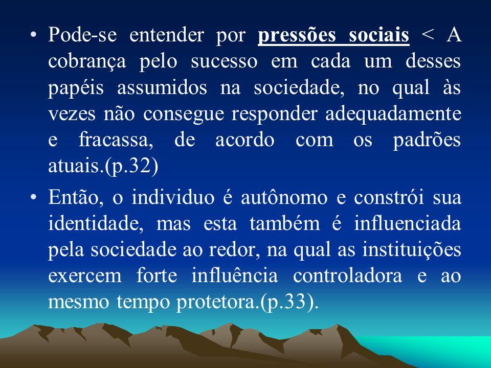 Pode-se entender por pressões sociais < A cobrança pelo sucesso em cada um desses papéis assumidos na sociedade, no qual às vezes não consegue respond