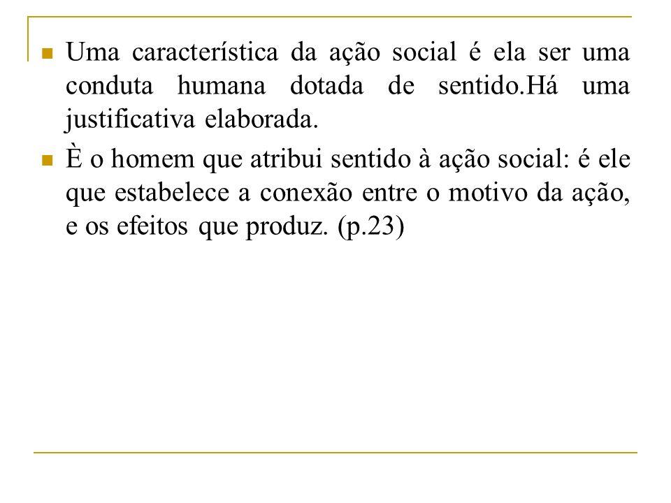 Uma característica da ação social é ela ser uma conduta humana dotada de sentido.Há uma justificativa elaborada. È o homem que atribui sentido à ação