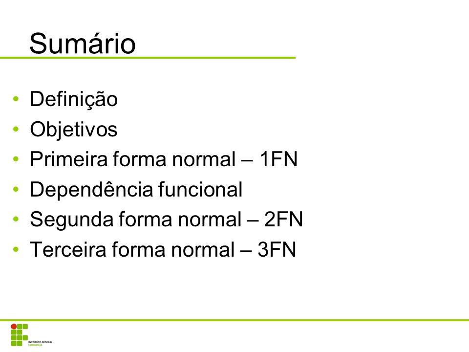 Sumário Definição Objetivos Primeira forma normal – 1FN Dependência funcional Segunda forma normal – 2FN Terceira forma normal – 3FN