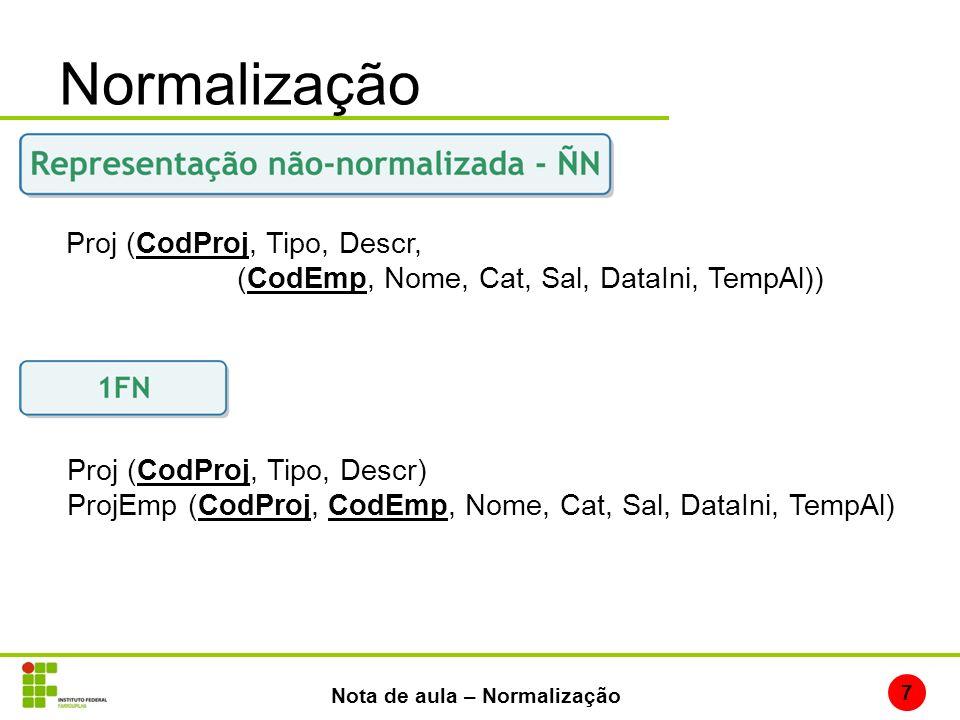 Normalização 7 Nota de aula – Normalização Proj (CodProj, Tipo, Descr, (CodEmp, Nome, Cat, Sal, DataIni, TempAl)) Proj (CodProj, Tipo, Descr) ProjEmp