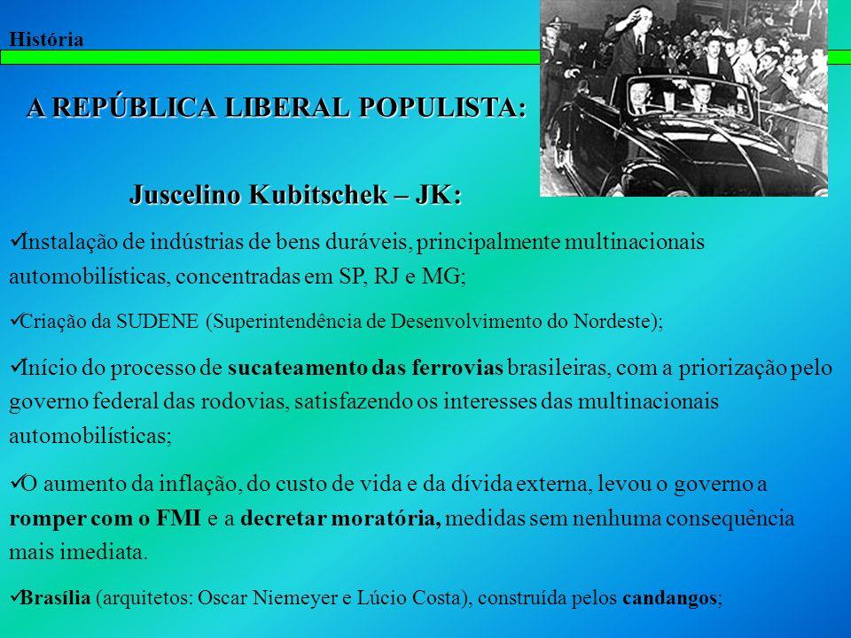História A REPÚBLICA LIBERAL POPULISTA: Juscelino Kubitschek – JK: Juscelino Kubitschek – JK: Instalação de indústrias de bens duráveis, principalment