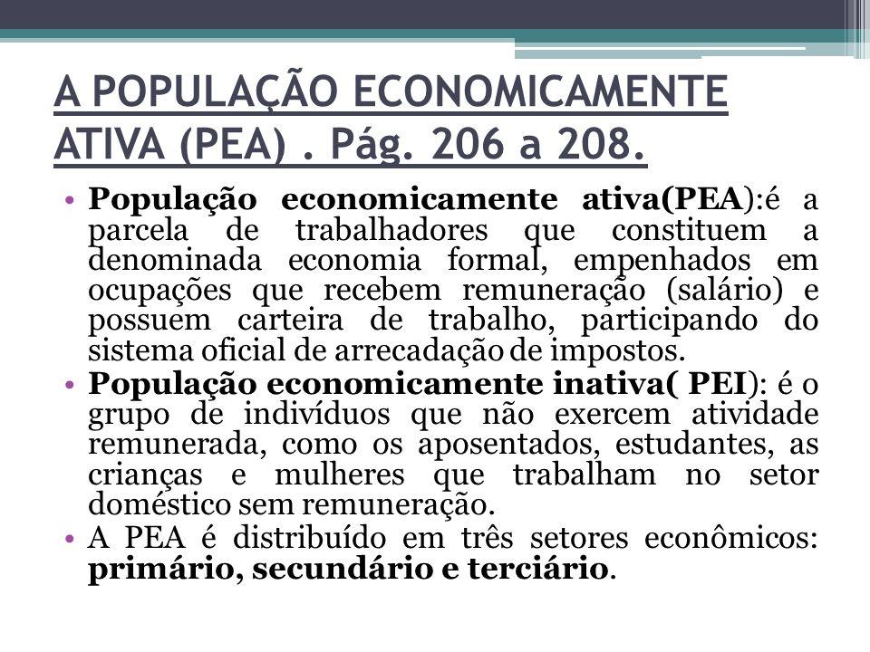 A POPULAÇÃO ECONOMICAMENTE ATIVA (PEA). Pág. 206 a 208. População economicamente ativa(PEA):é a parcela de trabalhadores que constituem a denominada e