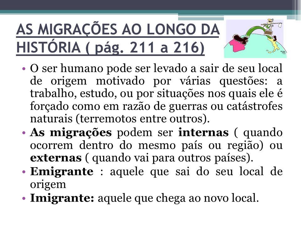 AS MIGRAÇÕES AO LONGO DA HISTÓRIA ( pág. 211 a 216) O ser humano pode ser levado a sair de seu local de origem motivado por várias questões: a trabalh