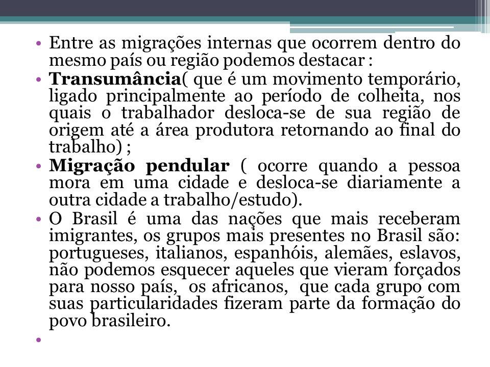 Entre as migrações internas que ocorrem dentro do mesmo país ou região podemos destacar : Transumância( que é um movimento temporário, ligado principa