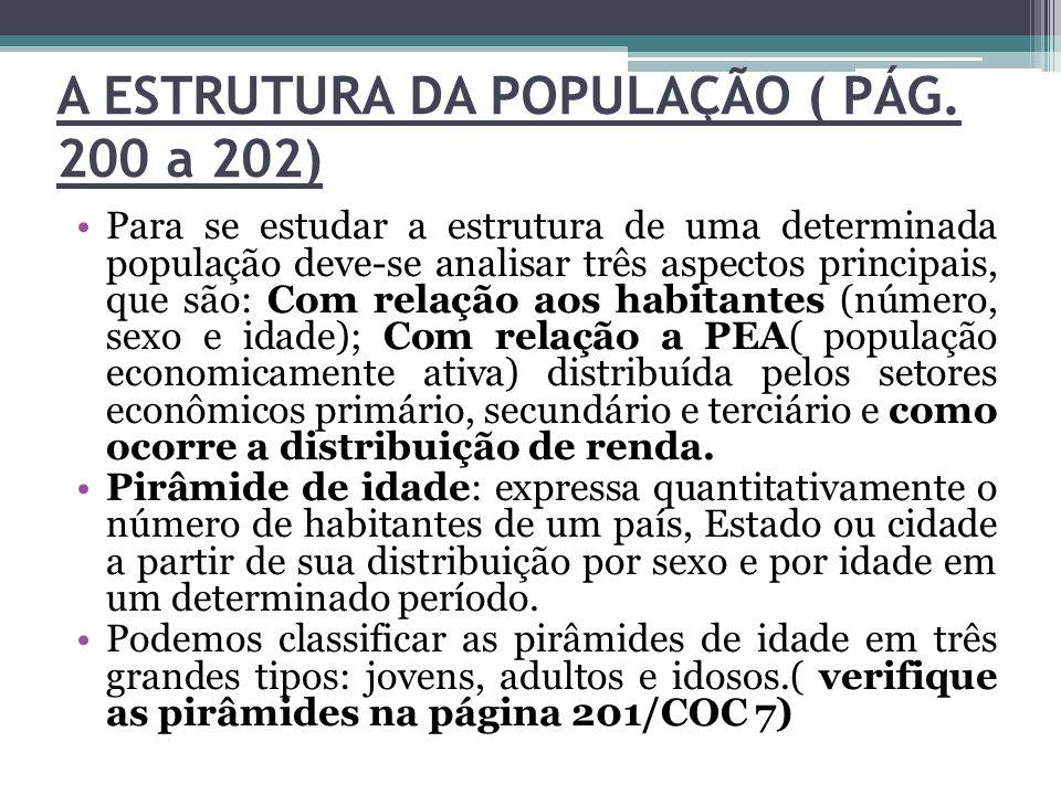 A ESTRUTURA DA POPULAÇÃO ( PÁG. 200 a 202) Para se estudar a estrutura de uma determinada população deve-se analisar três aspectos principais, que são