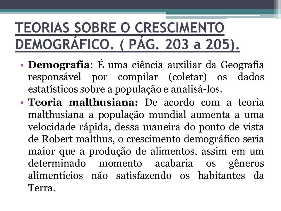 TEORIAS SOBRE O CRESCIMENTO DEMOGRÁFICO. ( PÁG. 203 a 205). Demografia: É uma ciência auxiliar da Geografia responsável por compilar (coletar) os dado