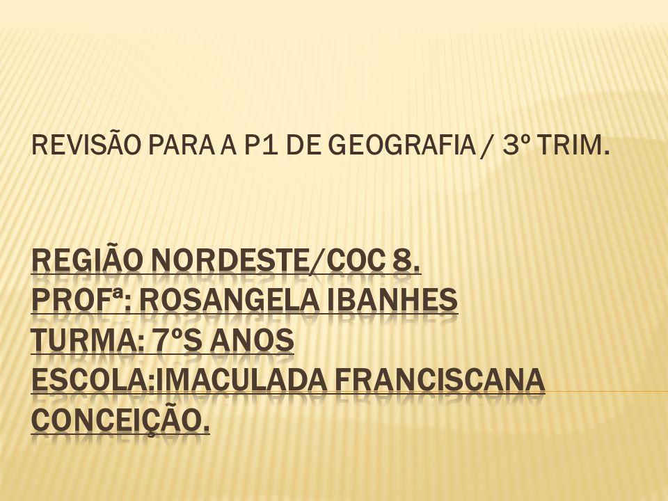 REVISÃO PARA A P1 DE GEOGRAFIA / 3º TRIM.