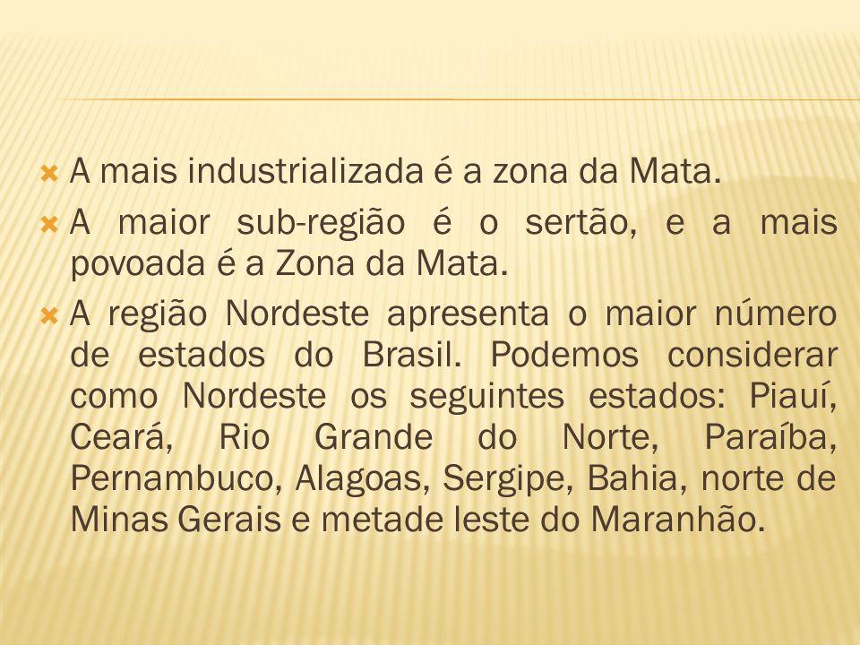 A mais industrializada é a zona da Mata. A maior sub-região é o sertão, e a mais povoada é a Zona da Mata. A região Nordeste apresenta o maior número