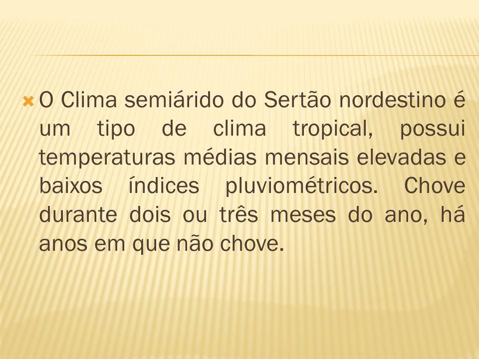 O Clima semiárido do Sertão nordestino é um tipo de clima tropical, possui temperaturas médias mensais elevadas e baixos índices pluviométricos. Chove