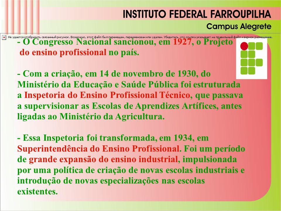 - O Congresso Nacional sancionou, em 1927, o Projeto do ensino profissional no país.