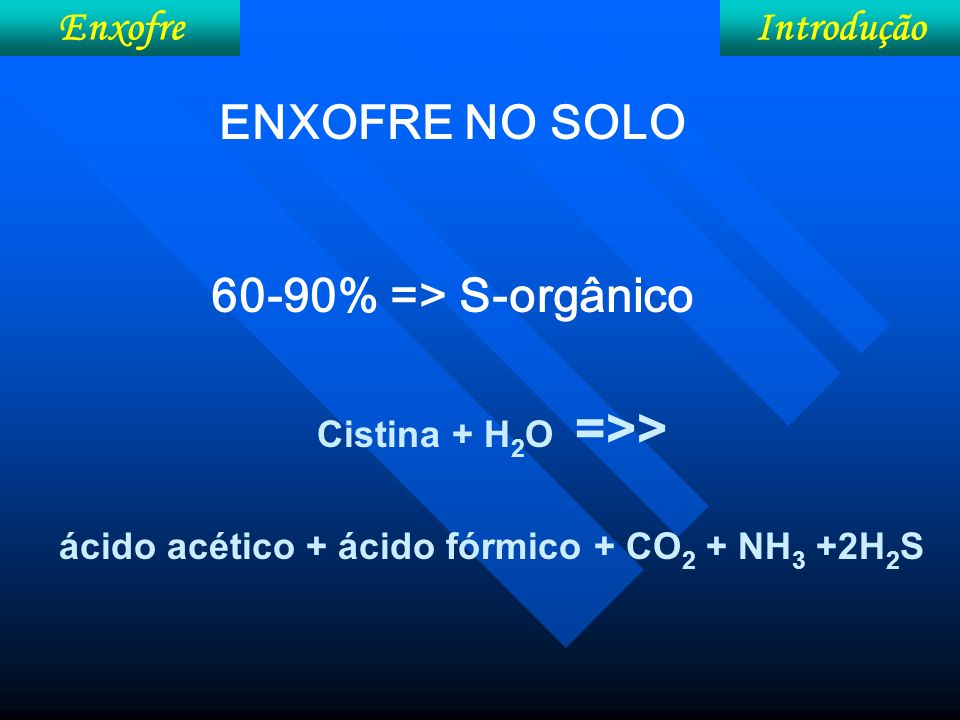 Metabolismo Enxofre H 2 SO 4 +ATP + 8H + + acetil-serina cisteína + acetato + 3 H 2 O +AMP +PPi Redução assimilatória do S ATP sulfurilase: SO 4 2- + ATP => APS + PP APS ase (adenosina-fosfo-sulfato): APS + Car-SH => AMP + Car-S-SO 3 H Redutase do sulfito: Car-S-SO 3 H + 6H+ + 6 ē => Car-S-SH + 3H 2 O Sulfidrase da serina: Car-S-SH + acetilserina => cisteína + ácido acético + Car-SH