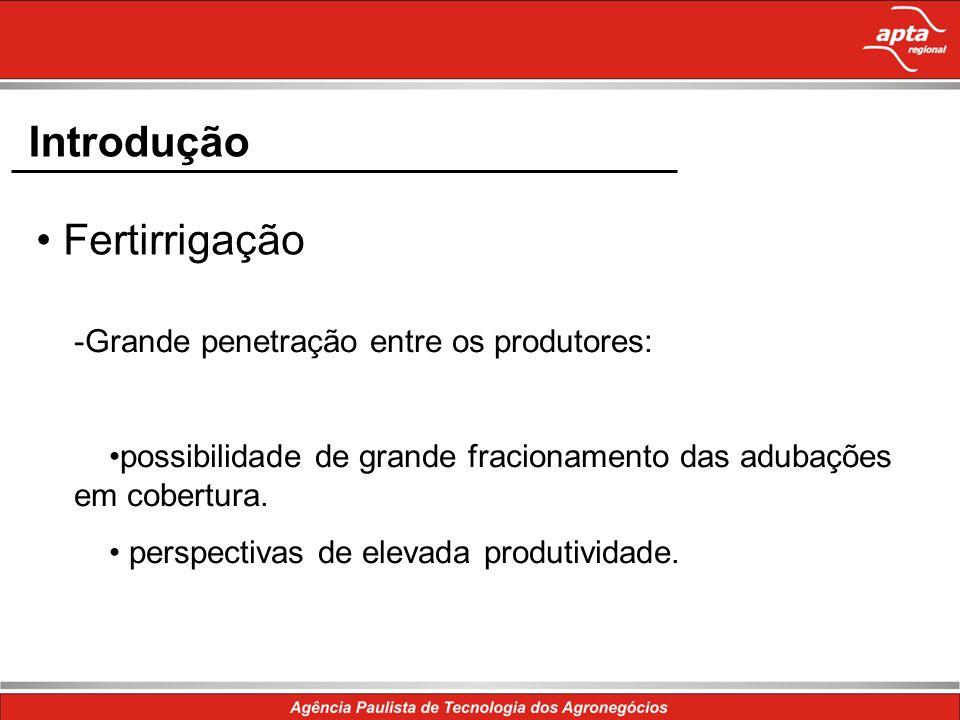 Introdução Fertirrigação -Grande penetração entre os produtores: possibilidade de grande fracionamento das adubações em cobertura. perspectivas de ele
