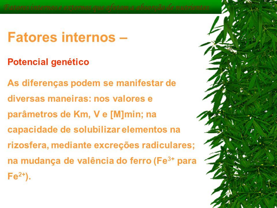 Fatores internos – Potencial genético As diferenças podem se manifestar de diversas maneiras: nos valores e parâmetros de Km, V e [M]min; na capacidad