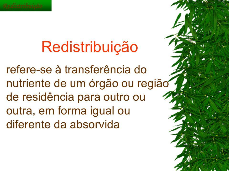 Redistribuição refere-se à transferência do nutriente de um órgão ou região de residência para outro ou outra, em forma igual ou diferente da absorvid