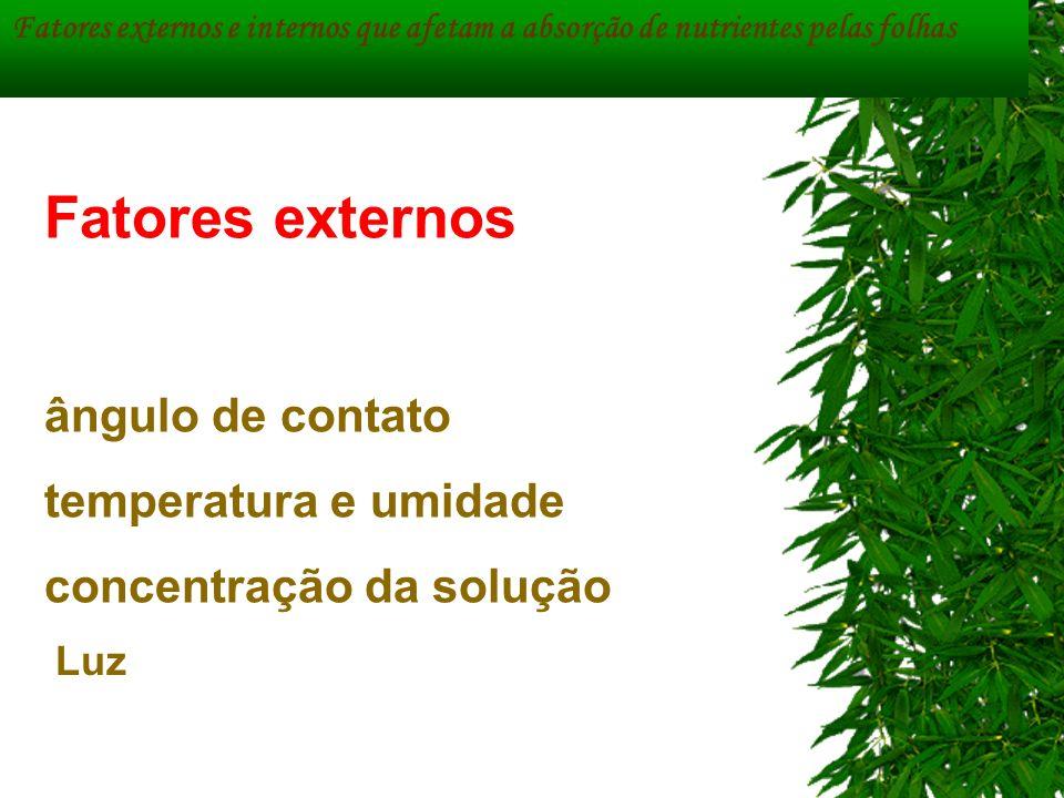 Fatores externos ângulo de contato temperatura e umidade concentração da solução Fatores externos e internos que afetam a absorção de nutrientes pelas