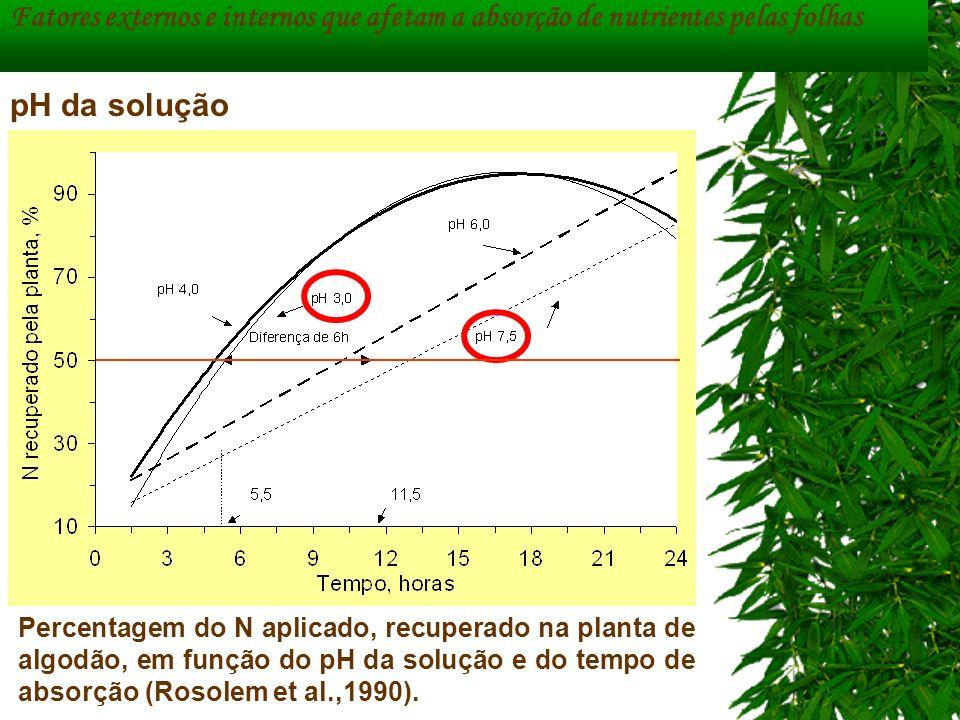 Percentagem do N aplicado, recuperado na planta de algodão, em função do pH da solução e do tempo de absorção (Rosolem et al.,1990). Fatores externos