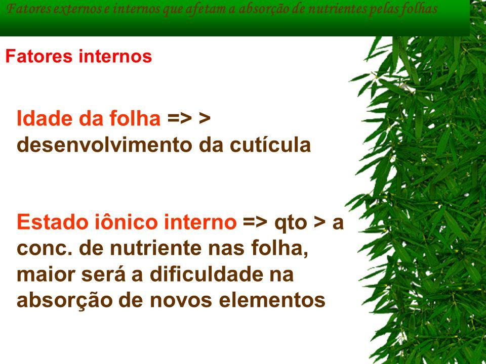 Fatores externos e internos que afetam a absorção de nutrientes pelas folhas Idade da folha => > desenvolvimento da cutícula Estado iônico interno =>