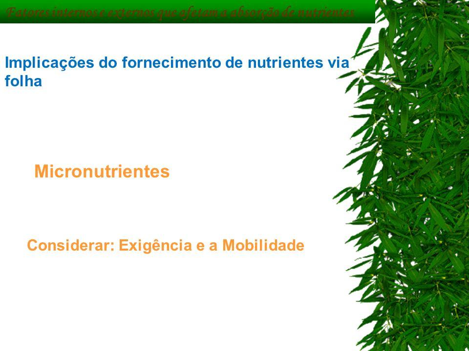 Fatores internos e externos que afetam a absorção de nutrientes Implicações do fornecimento de nutrientes via folha Micronutrientes Considerar: Exigên