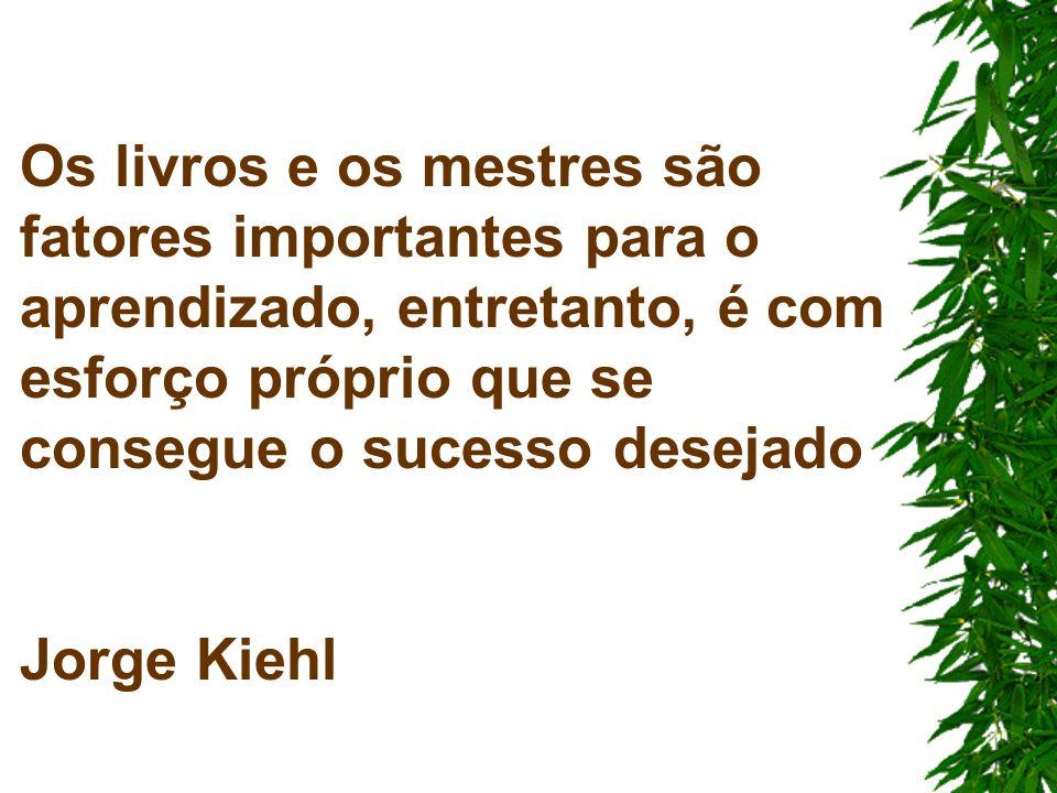 Os livros e os mestres são fatores importantes para o aprendizado, entretanto, é com esforço próprio que se consegue o sucesso desejado Jorge Kiehl