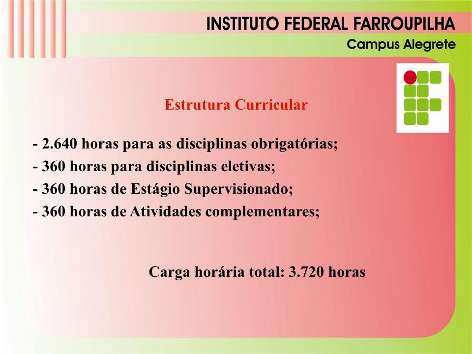 Estrutura Curricular - 2.640 horas para as disciplinas obrigatórias; - 360 horas para disciplinas eletivas; - 360 horas de Estágio Supervisionado; - 3