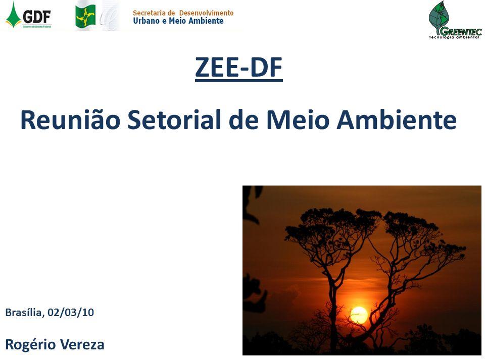 Conteúdo ZEE e o Meio Ambiente Situação Original da Cobertura Vegetal e o Processo de Fragmentação da Paisagem Estudos sobre a Vegetação e Fauna Análise da Vulnerabilidade Ambiental do DF Corredores Ecológicos UC APP RL APM