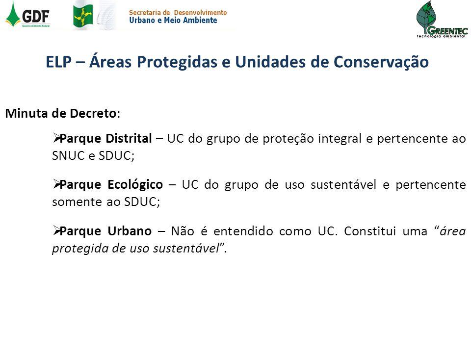 Minuta de Decreto: Parque Distrital – UC do grupo de proteção integral e pertencente ao SNUC e SDUC; Parque Ecológico – UC do grupo de uso sustentável