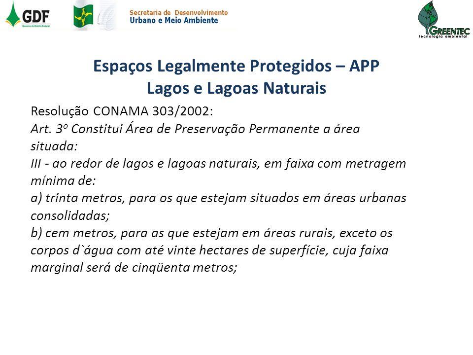 Espaços Legalmente Protegidos – APP Lagos e Lagoas Naturais Resolução CONAMA 303/2002: Art. 3 o Constitui Área de Preservação Permanente a área situad