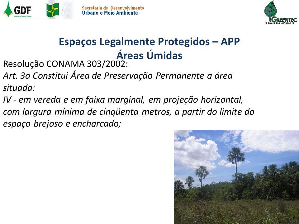 Espaços Legalmente Protegidos – APP Áreas Úmidas Resolução CONAMA 303/2002: Art. 3o Constitui Área de Preservação Permanente a área situada: IV - em v