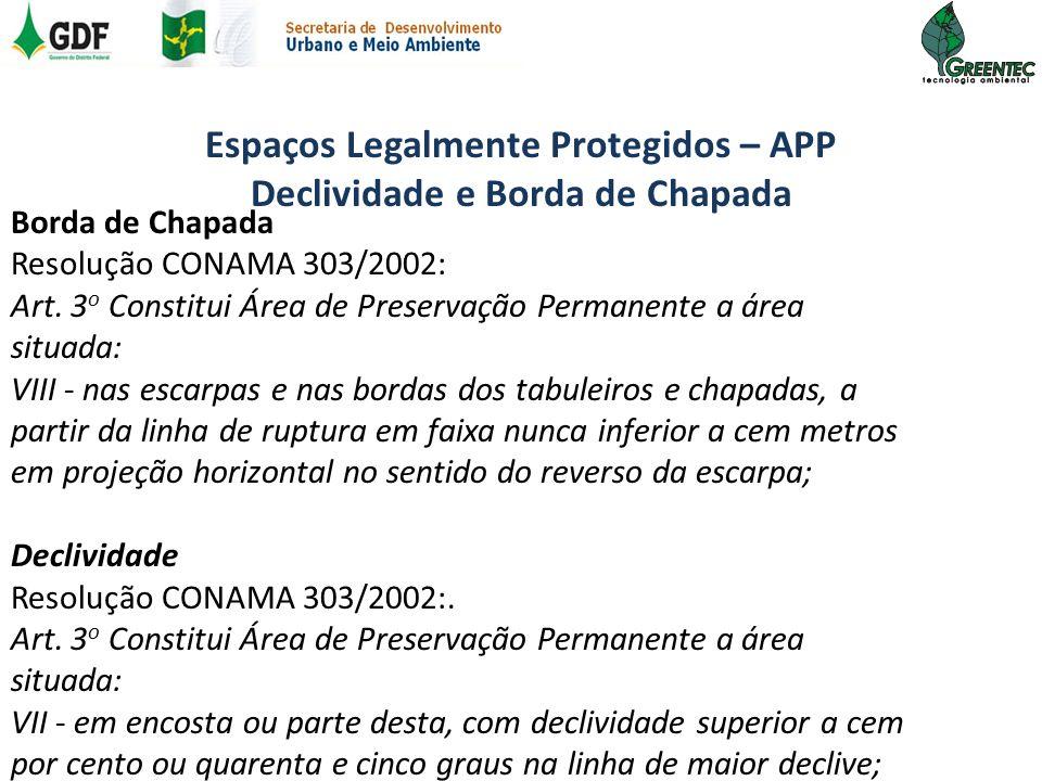 Espaços Legalmente Protegidos – APP Declividade e Borda de Chapada Borda de Chapada Resolução CONAMA 303/2002: Art. 3 o Constitui Área de Preservação