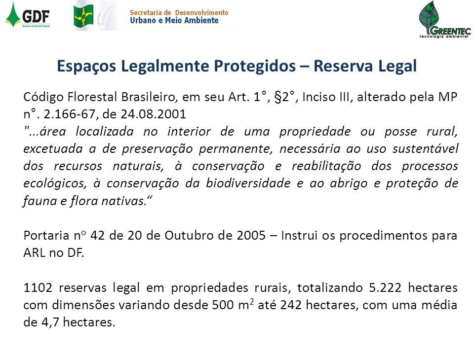 Espaços Legalmente Protegidos – Reserva Legal Código Florestal Brasileiro, em seu Art. 1°, §2°, Inciso III, alterado pela MP n°. 2.166-67, de 24.08.20