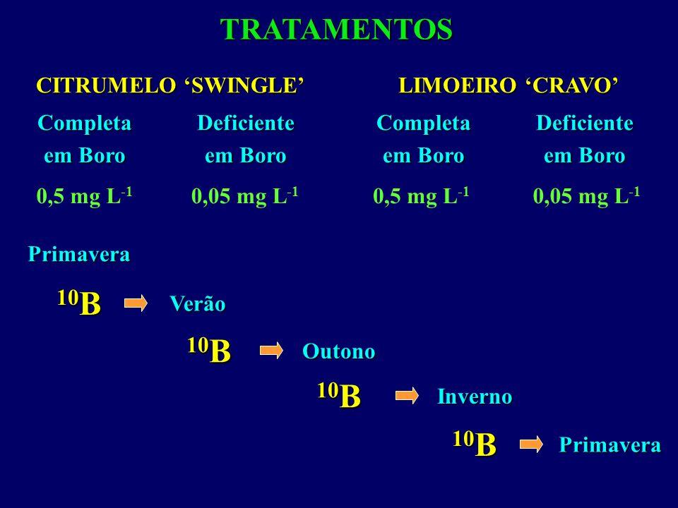 TRATAMENTOSPrimaveraVerão 10 B Outono Inverno Primavera CITRUMELO SWINGLE Deficiente em Boro Completa 0,5 mg L -1 0,05 mg L -1 LIMOEIRO CRAVO Deficien