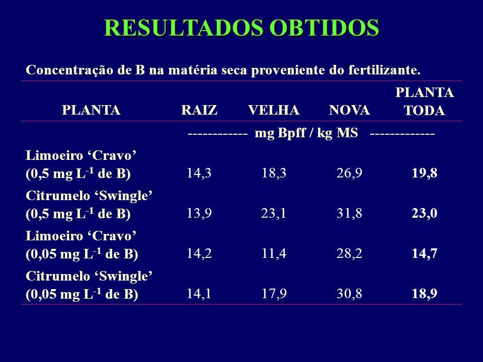 RESULTADOS OBTIDOS Concentração de B na matéria seca proveniente do fertilizante. PLANTARAIZVELHANOVA PLANTA TODA ------------ mg Bpff / kg MS -------
