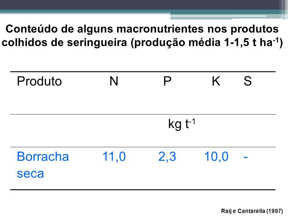 Raij e Cantarella (1997) Conteúdo de alguns macronutrientes nos produtos colhidos de seringueira (produção média 1-1,5 t ha -1 ) ProdutoNPKS kg t -1 B