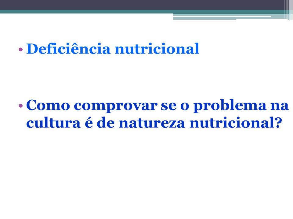 Deficiência nutricional Como comprovar se o problema na cultura é de natureza nutricional?