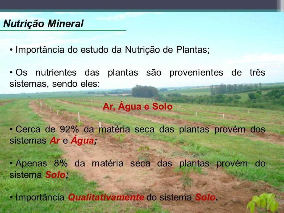 Nutrição Mineral Importância do estudo da Nutrição de Plantas; Os nutrientes das plantas são provenientes de três sistemas, sendo eles: Ar, Água e Sol