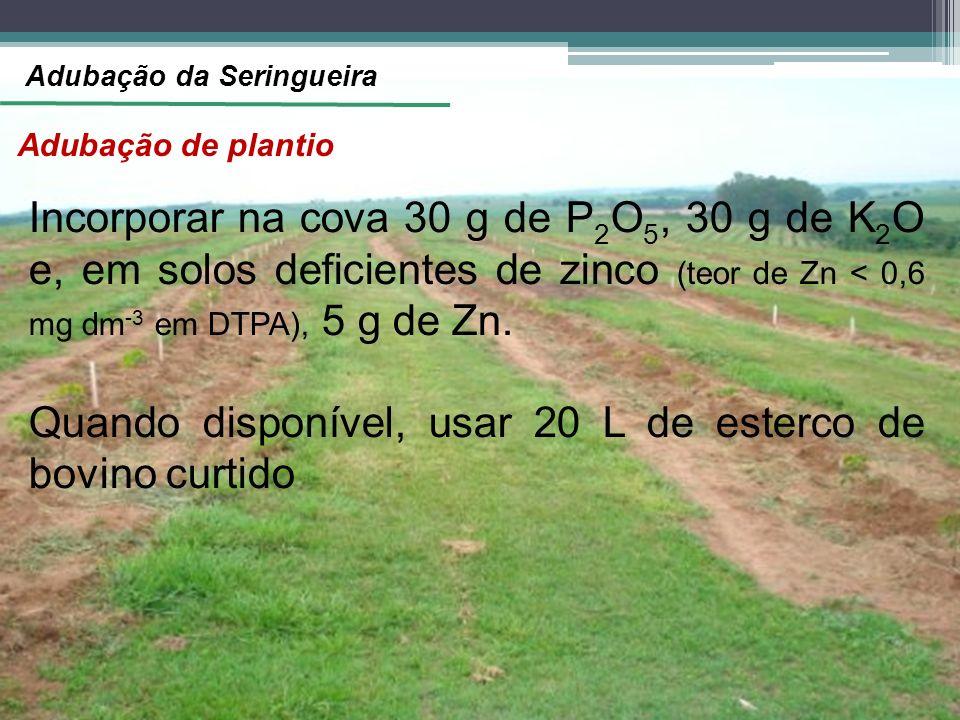 Adubação de plantio Incorporar na cova 30 g de P 2 O 5, 30 g de K 2 O e, em solos deficientes de zinco (teor de Zn < 0,6 mg dm -3 em DTPA), 5 g de Zn.